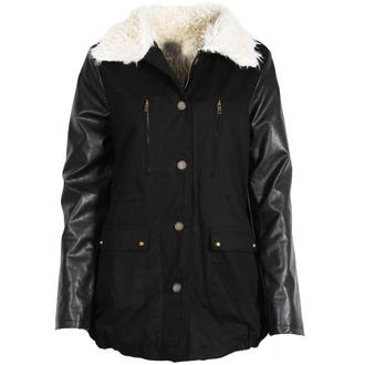 View Item Black Fur Lined Parka with Faux Leather Sleeves